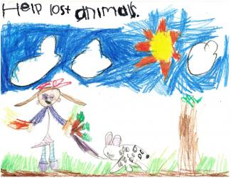 "Drawing of a girl walking a spotted dog and text ""Help all animals"""
